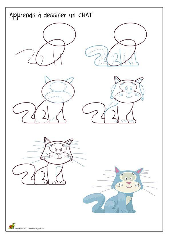 Apprends dessiner un chat m thode de dessin apprendre dessiner pinterest dessiner - Un dessin de chat ...