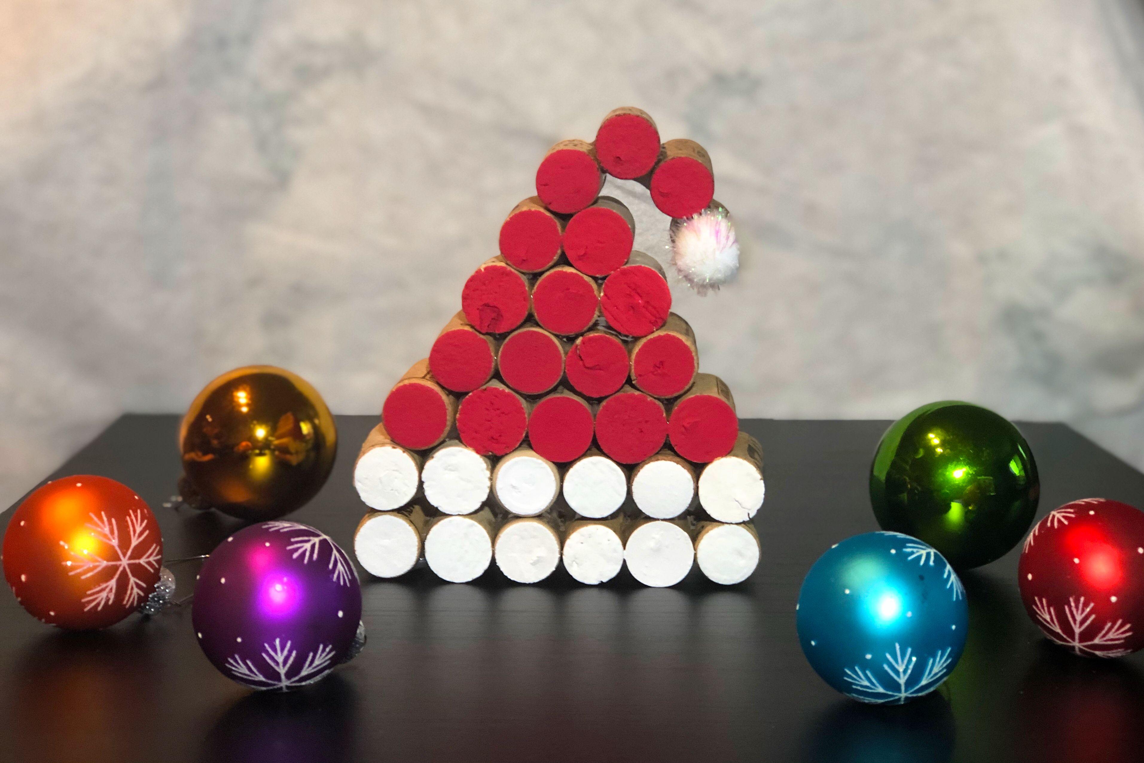 Wine Cork Santa Hat Etsy In 2020 Wine Cork Diy Crafts Wine Cork Crafts Christmas Cork Crafts Christmas