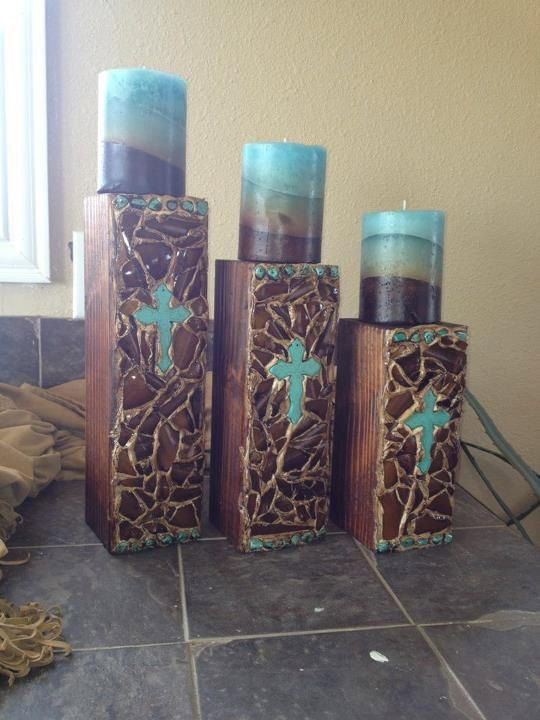 Turquoise Candle Holders by KoolCrosses on Etsy, 58.00