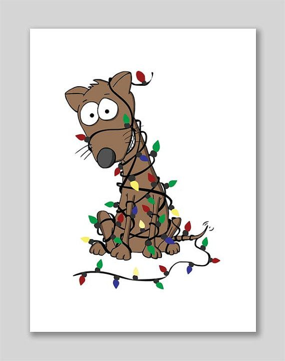 Christmas Fairy Lights Illustration.Brown Dog Tangled Up In Christmas Lights 8 5 By