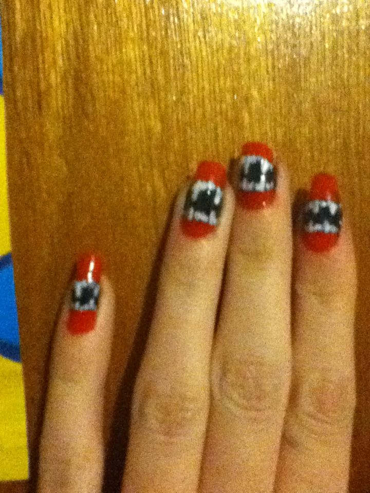 Vampire teeth with a bit of lip. Halloween nail design   Nailart ...