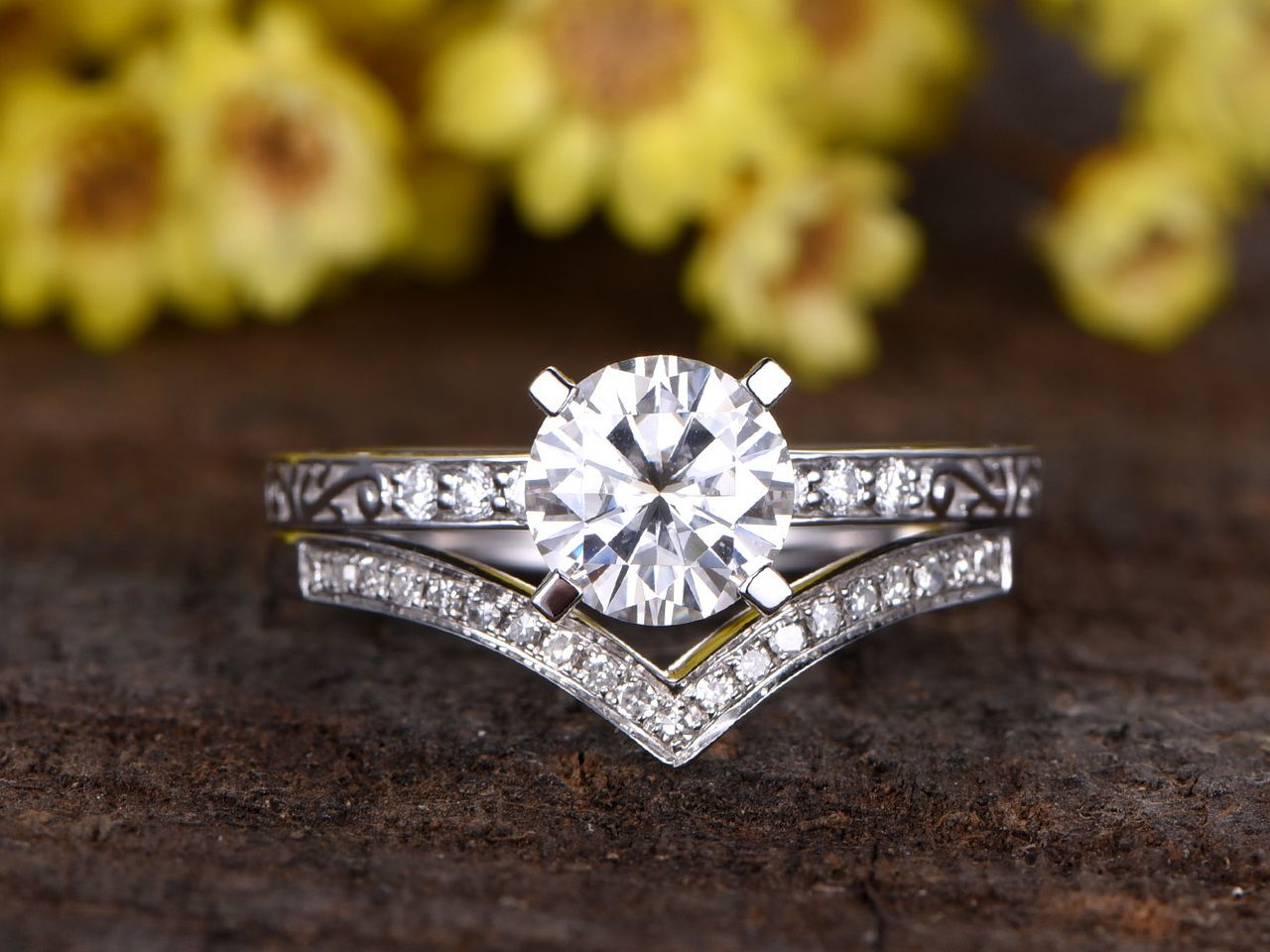 1.25 Carat Round Moissanite Wedding Sets Diamond Bridal