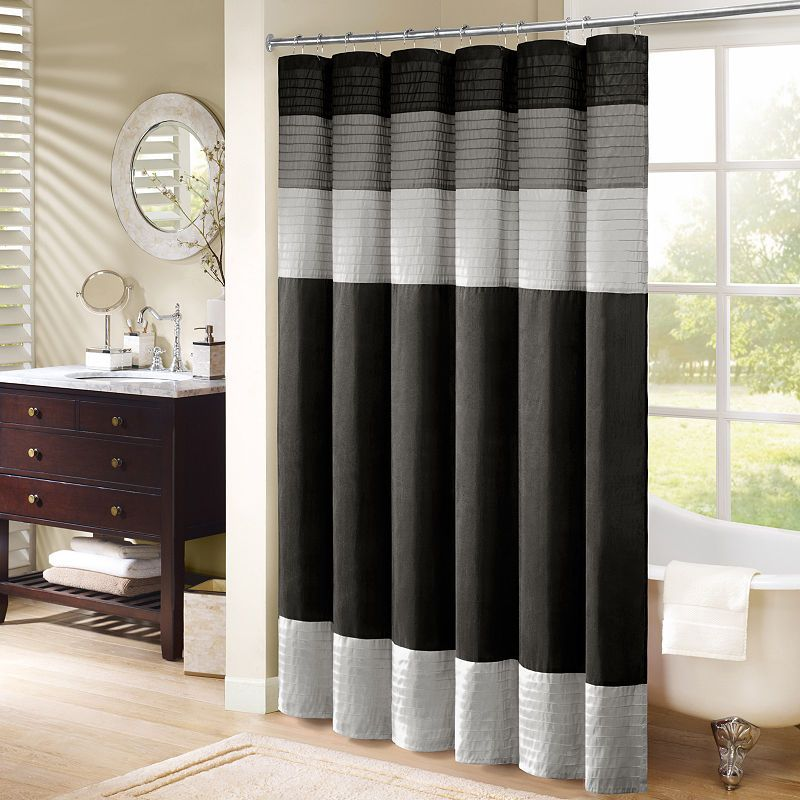 Infinity Pleated Shower Curtain Striped Shower Curtains Curtain