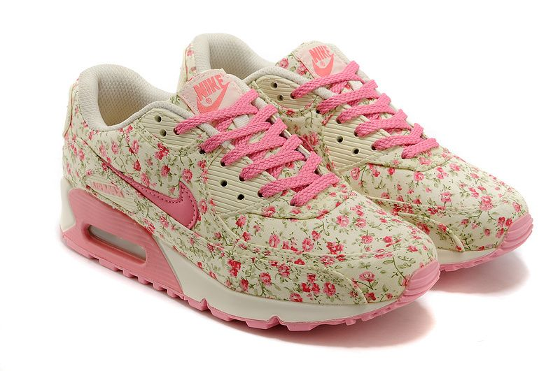 Nike Air Max 90 Floral Womens Running Shoes Pink Beige