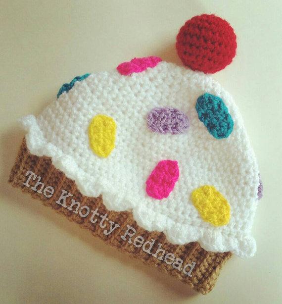 b9f1f7e460f Crochet Cupcake Hat with Sprinkles  Cute Cupcake Hat Cupcake Beanie  Adorable Hat Unique Crochet Gif