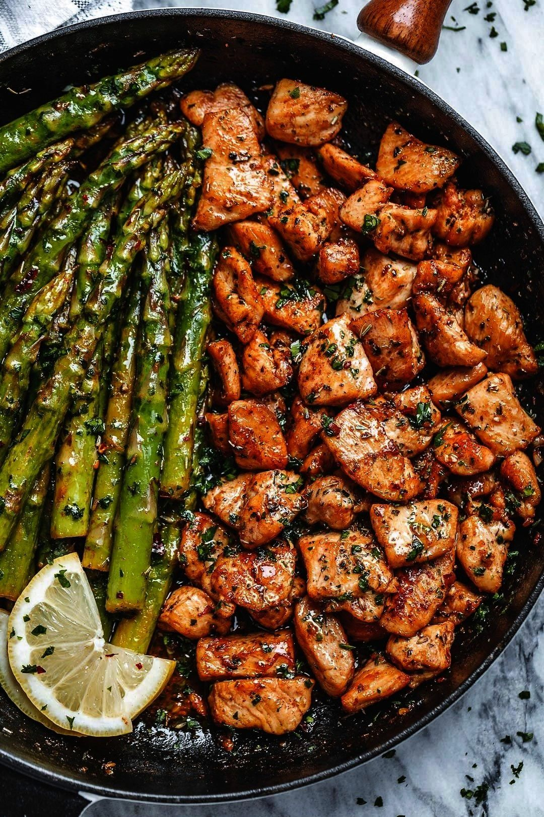 Chicken Bites and Lemon Asparagus - - So much flavor and so easy to throw together, this chicken an