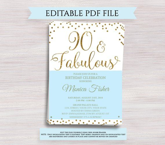 Editable 90th Birthday Party Invitation Template 90 And