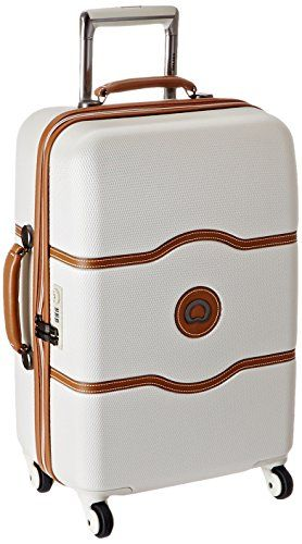 24-Inch Champagne White Hardside Medium Checked Spinner Suitcase DELSEY Paris Chatelet Hard