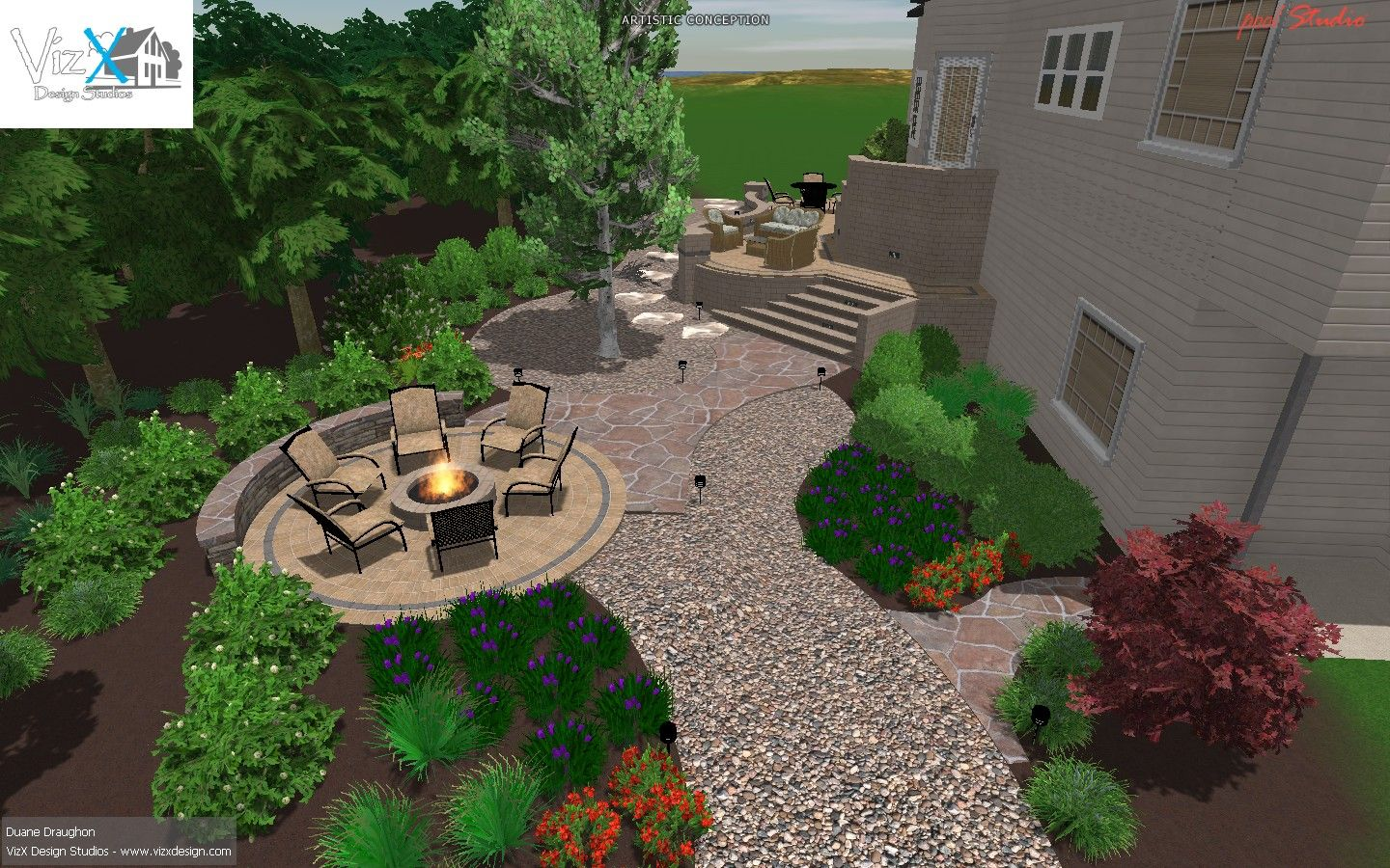 Outdoor Living 3d design w/fire pit, gavel walk, and paver ...