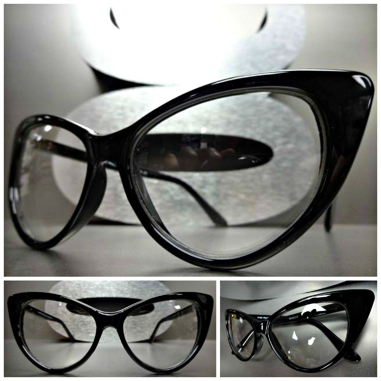 CLASSIC VINTAGE RETRO Style Clear Lens EYE GLASSES Black /& Silver Fashion Frame