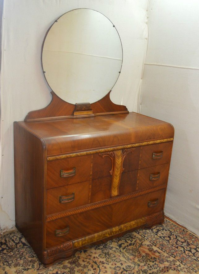 Art Deco Waterfall Style Dresser Vanity With Mirror Art