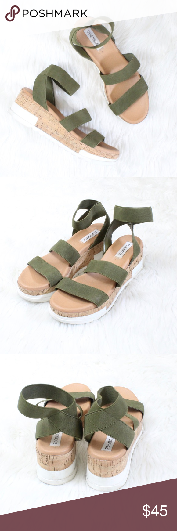 82b7de9012d STEVE MADDEN Bandi Platform Wedge Sandal in Olive Worn once! Size  8.5  Color