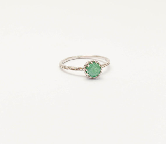 New Year Sale Thin Silver Ring Green Stone Ring Druzy Mint Green