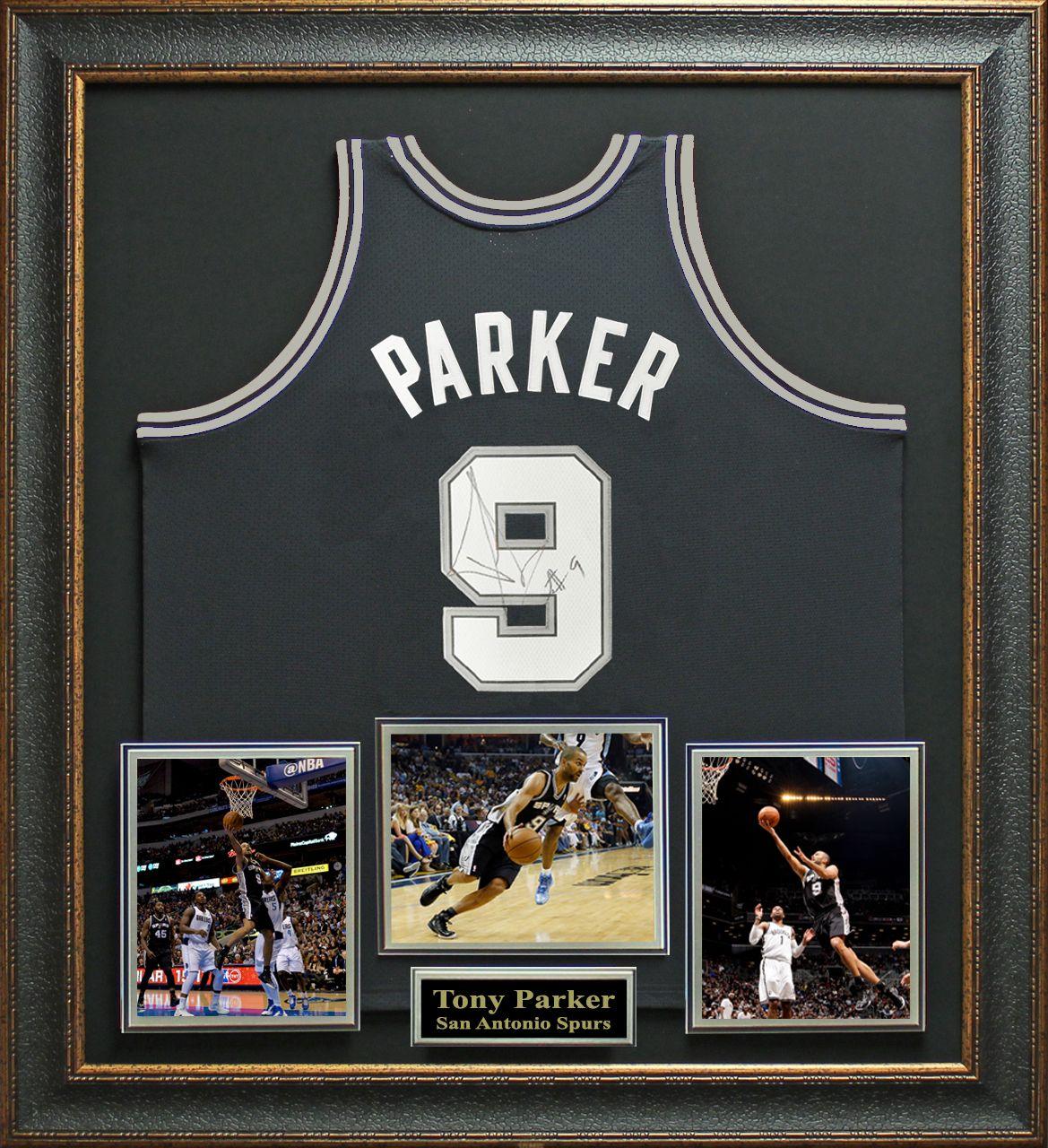 Signature Royale - Tony Parker Signed San Antonio Spurs Jersey Display c71193e0b