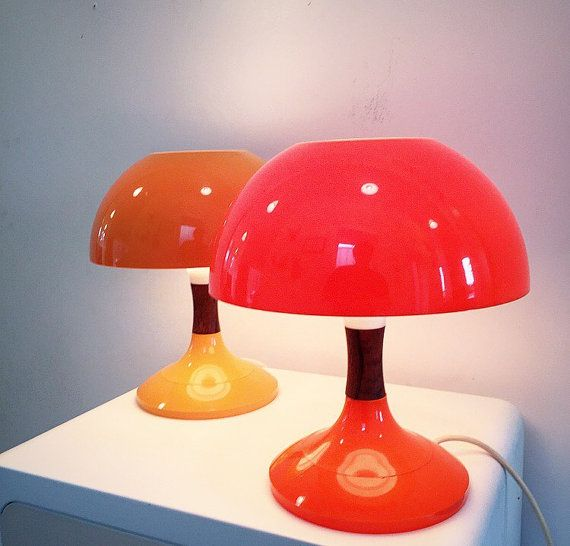 Danish Space Age Verner Panton Style Plastic Table Lamp With Solid Rosewood Detail 70s Design Midcentury Contemporary Retro Table Lamp Design Table Lamp Lamp
