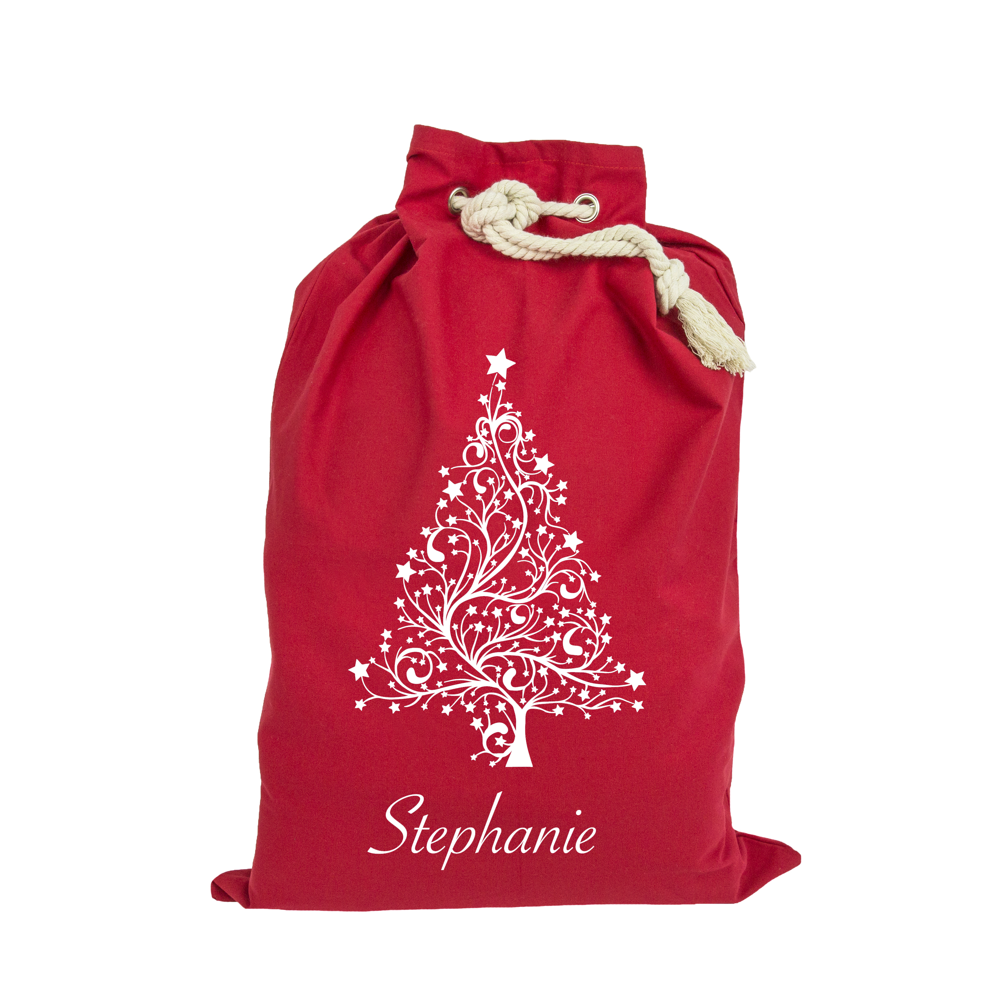 Red and white Christmas tree personalised Santa sack
