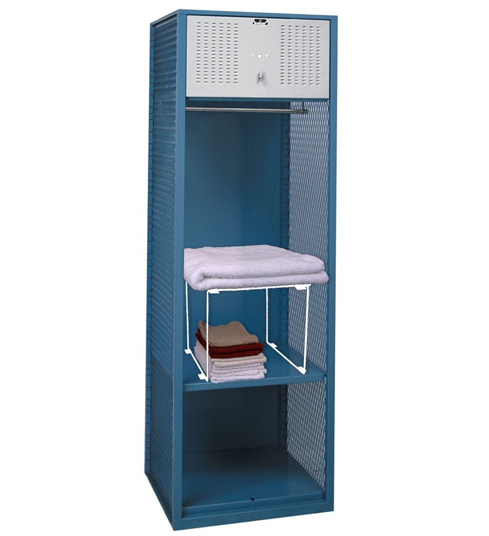 Stackable Locker Shelf - White in Locker Organizers - shelf - shown with  locker (not - Stackable Locker Shelf - White In Locker Organizers - Shelf