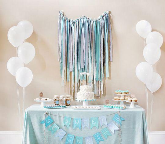 Guirnalda con tiras de tela para decorar baby shower - Decoracion de guirnaldas ...