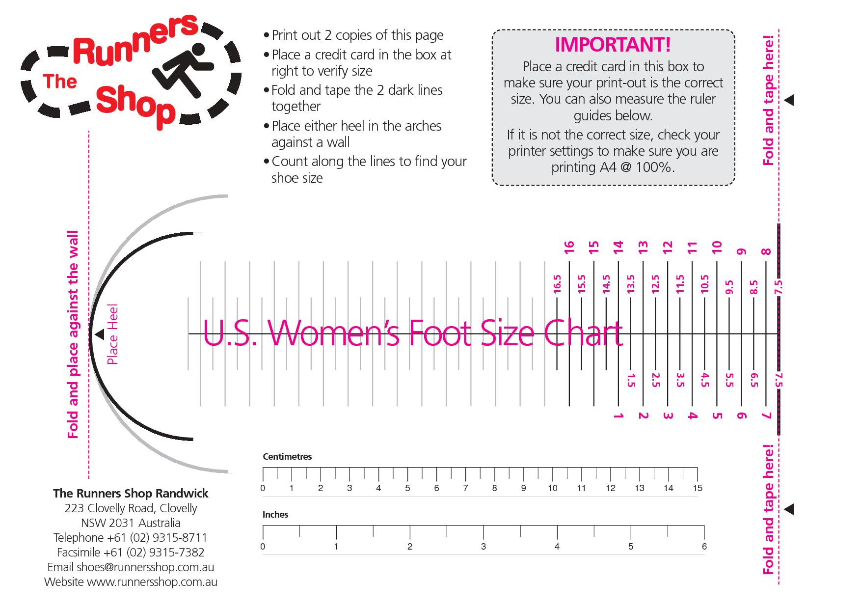 Womens Shoe Size Chart