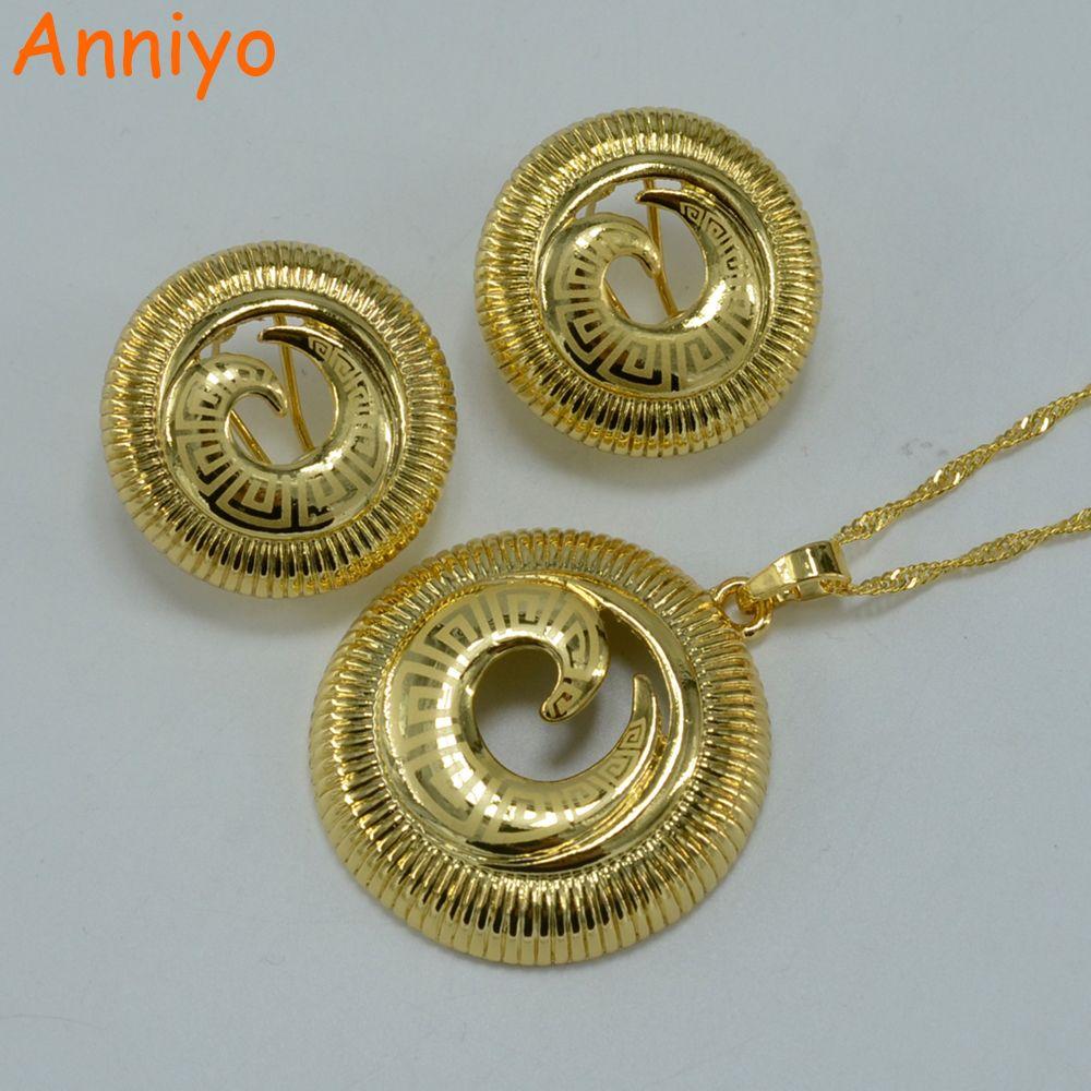 Anniyo africa set jewelry gold color ethiopian sets pendant necklace