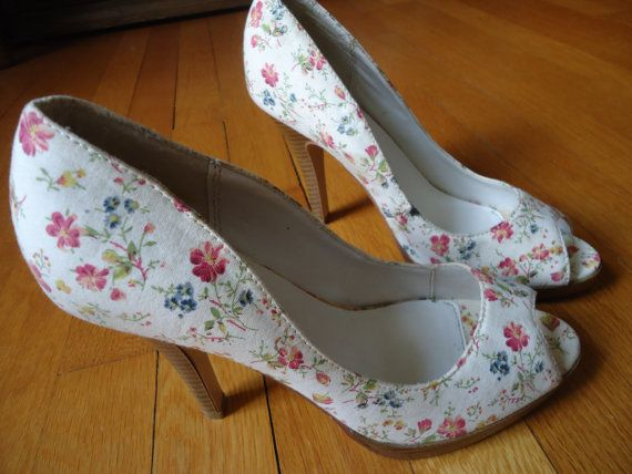 Sexy sweet satin ivory floral platform peep toe pumps 4 heels bridal prom wedding Charlotte Russe size 8M. $25.00, via Etsy.