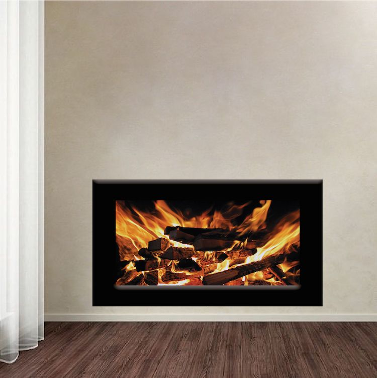 fireplace wallpaper decal | holiday decoration | wall stickers
