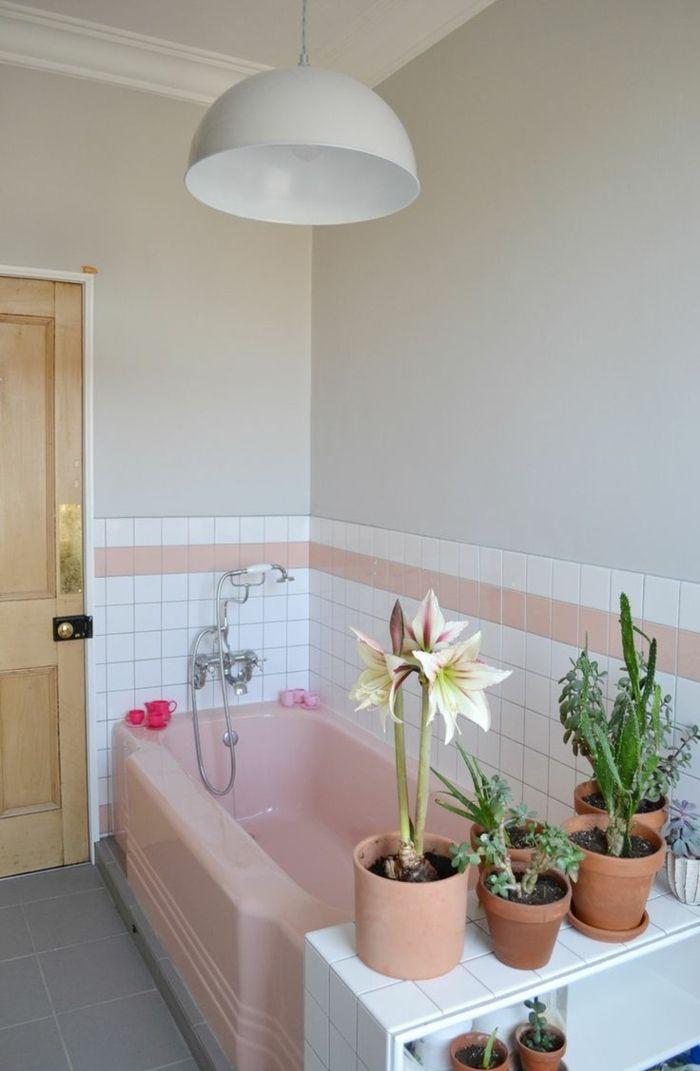 retro fliesen vintage fliesen badezimmer gestalten pflanzen - fliesen für badezimmer