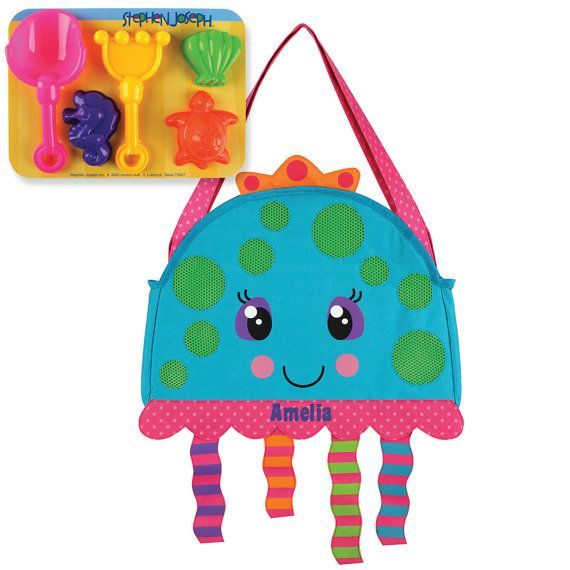 Stephen Joseph Beach Tote Personalized Comes With Sand Toys Mermaid Dolphin Octopus