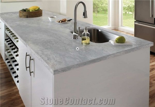 Super White Quartzite Kitchen Countertop and Island Countertop