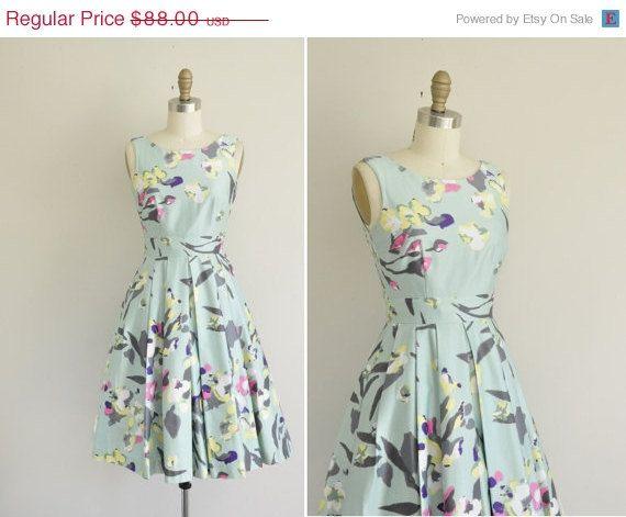 30% OFF SALE... vintage mint green floral dress / 1950s style vintage dress / full skirt dress on Etsy, $69.41 AUD