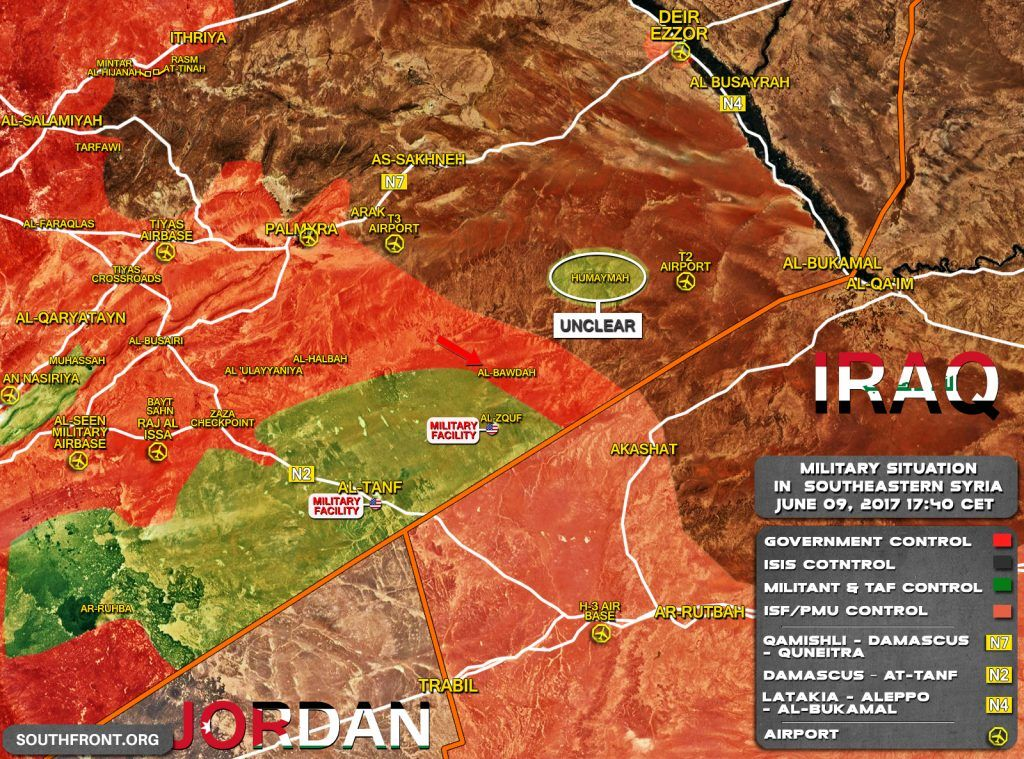 Map Military Situation In Southeastern Syria After