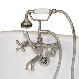 wall mount clawfoot tub faucet handheld shower. Clawfoot Tub Wall Mount British Telephone Faucet w  Hand Held Shower BathVault