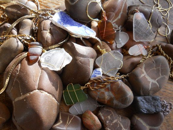 Lake Michigan BeachGlass Necklaces by Ree2Race on Etsy