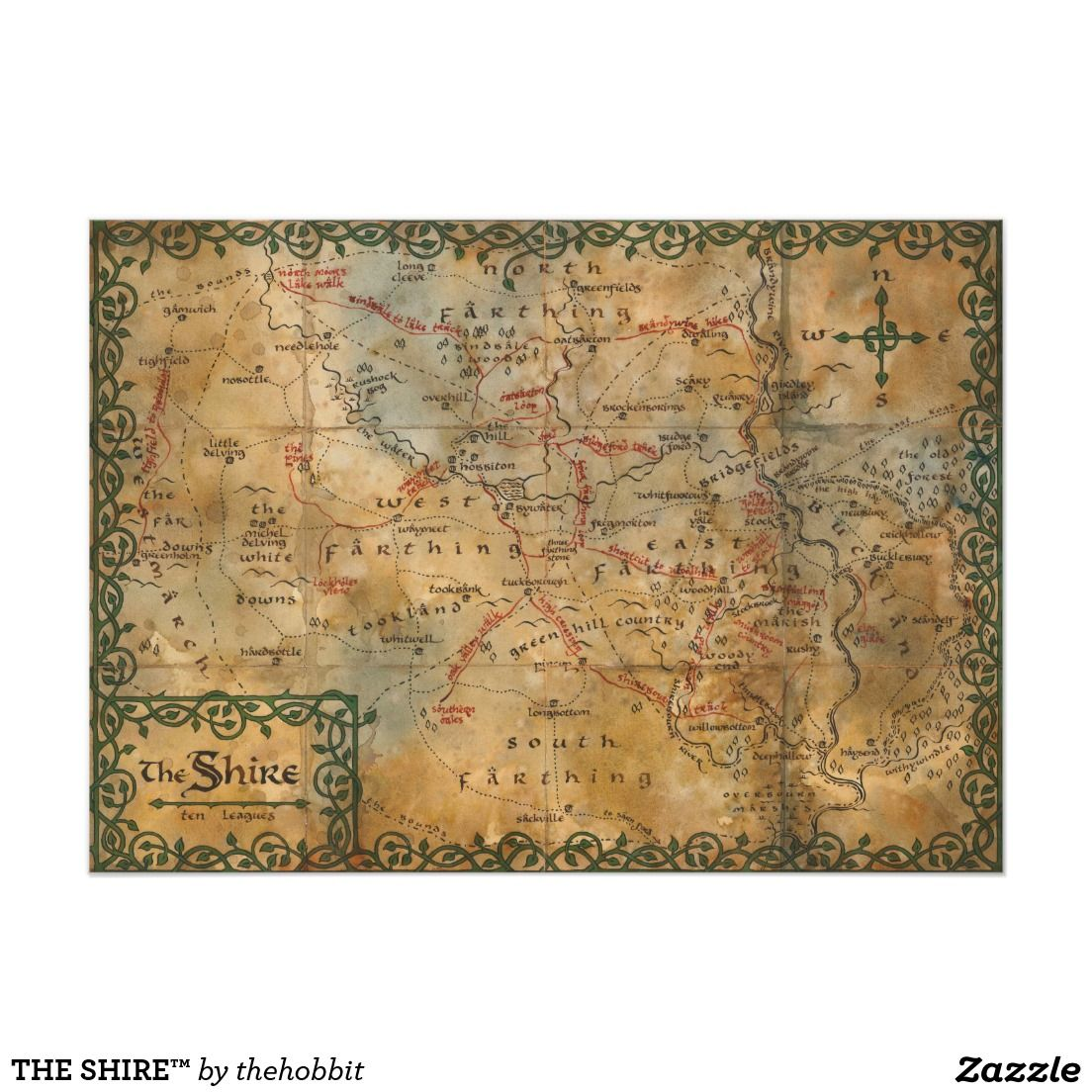The Shire Poster Zazzle Com Middle Earth Map The Hobbit Map