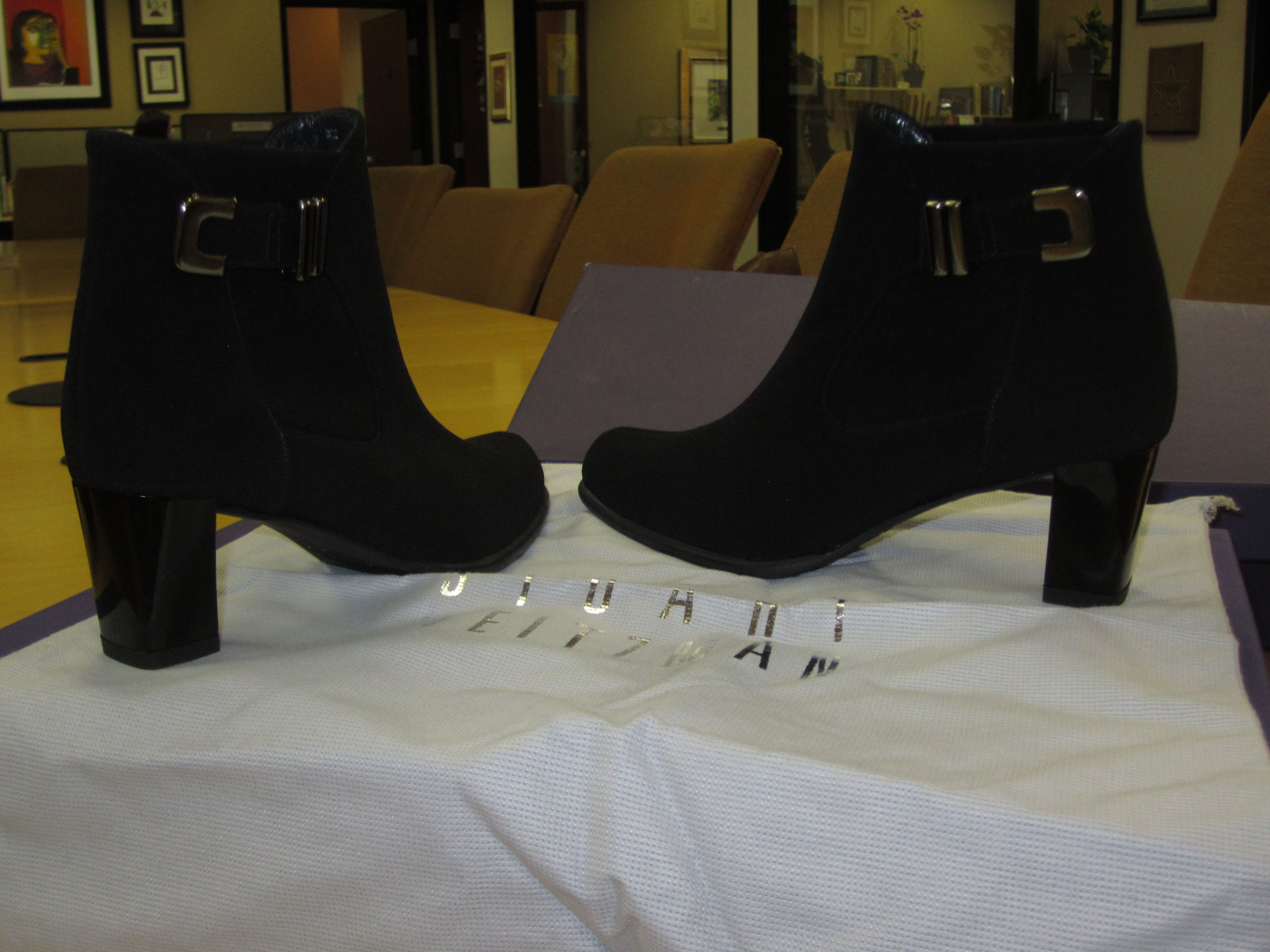 Stuart Weitzman Bucket Black Gore Tex size 5  Available at our Tustin store