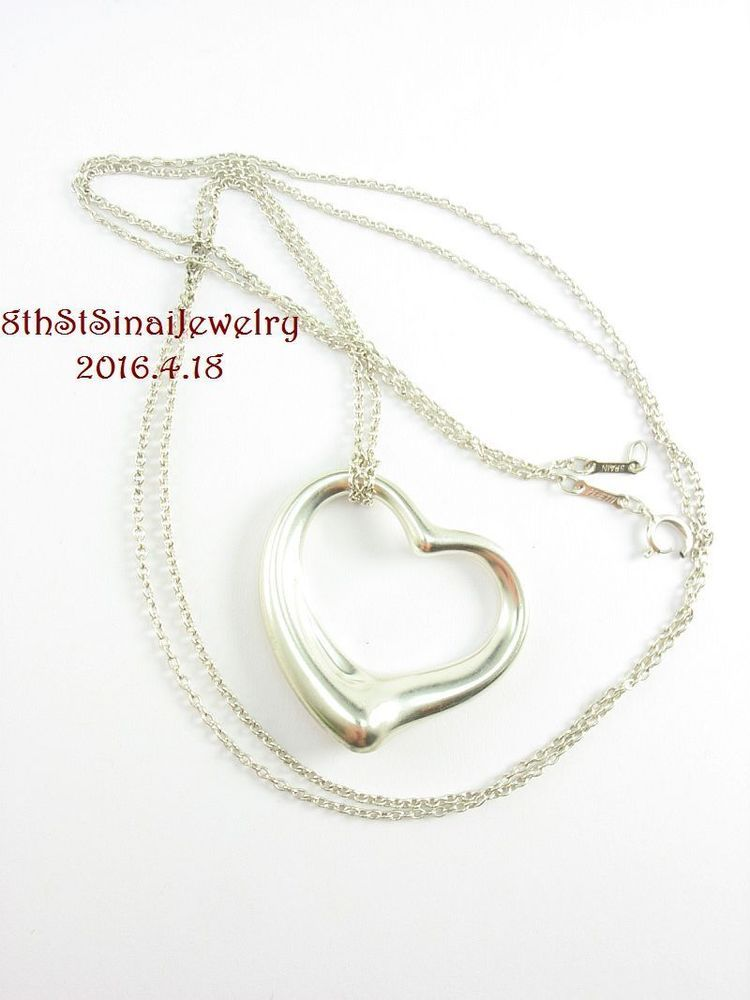 """Tiffany & Co Elsa Peretti Sterling Silver 925 35mm Open Heart X-Large 33"""" Chain #TiffanyCo #PendantonChain"""