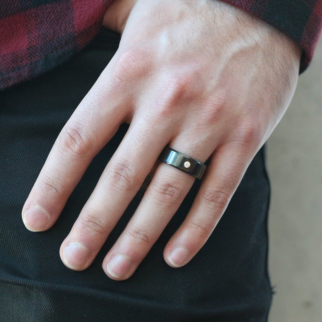 Solid Sterling Silver Mens Black Diamond Polished and Satin Ring