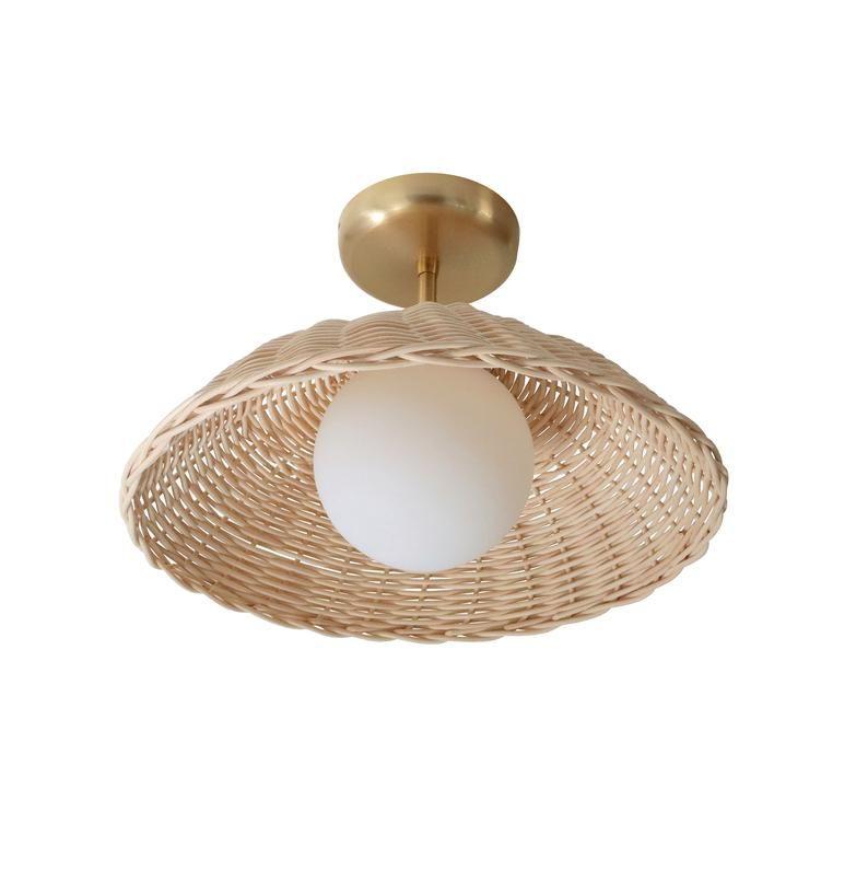 Rattan Ceiling Light Woven Pendant Lamp Flush Mount Lighting Etsy In 2020 Ceiling Lights Rattan Pendant Light Flush Mount Lighting