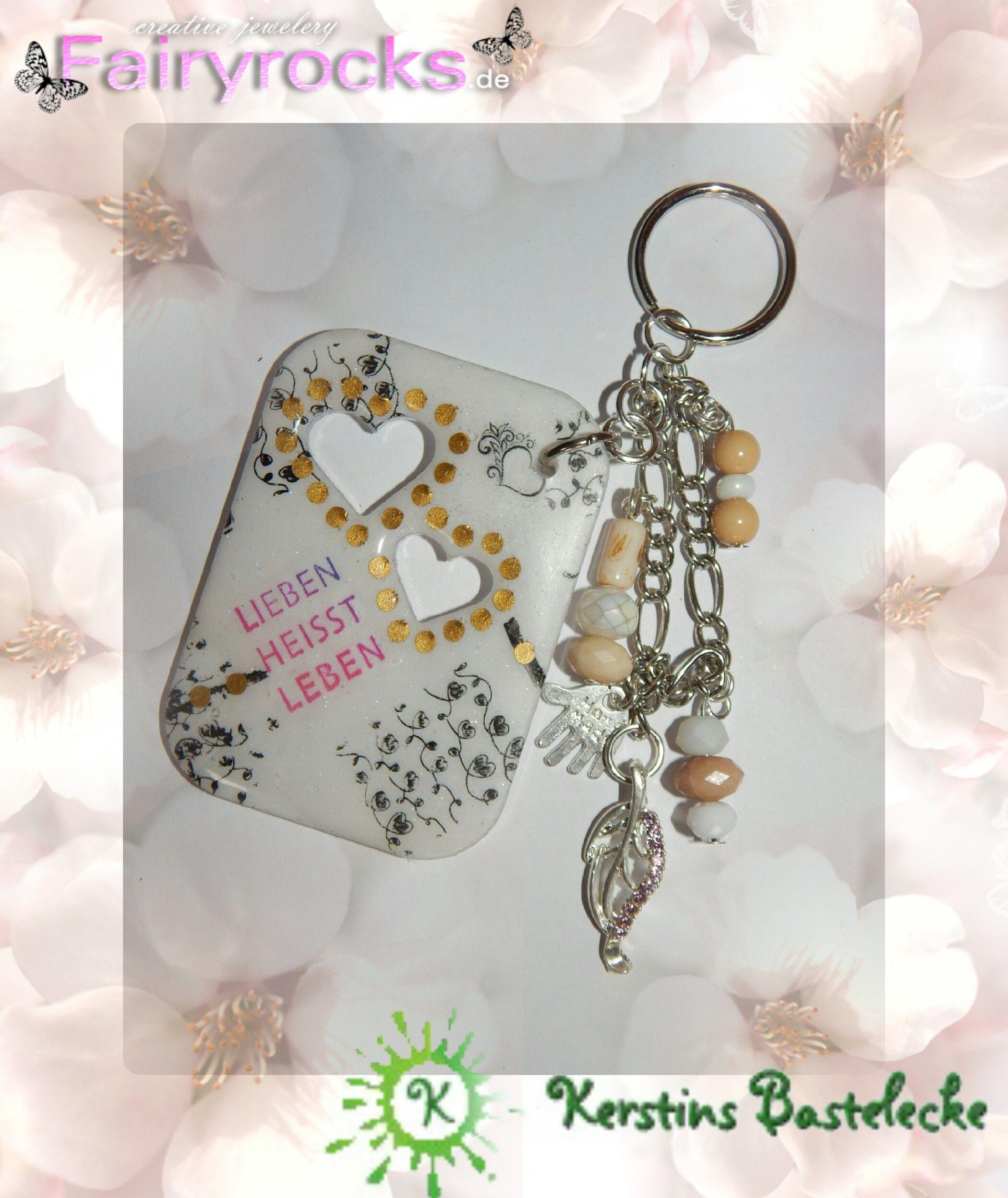 #Anhänger #Liebe #Herz #Gold #Punkte #Feder #Schwarz #Perlen #Beige