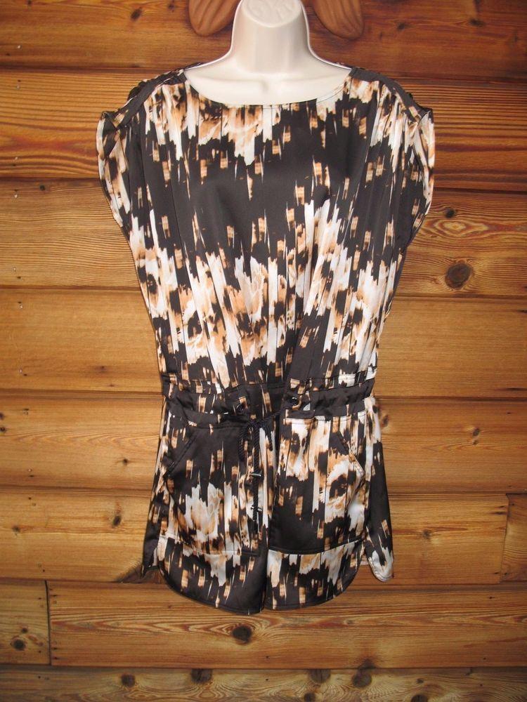 DEREK LAM FOR DESIGN NATION Black Multi Print XS Tie Waist Short  Dress  #DerekLamforDesignNation #TieWaist #SummerBeach