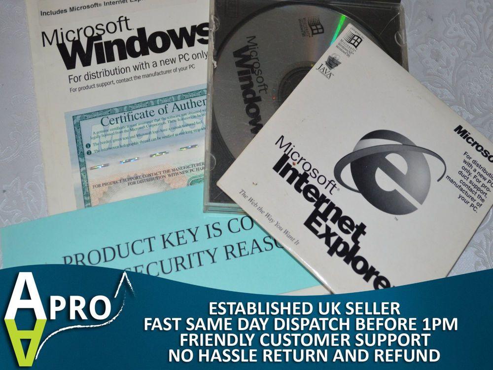Original Microsoft Windows 95 Certificate Of Authenticity Cd Ie