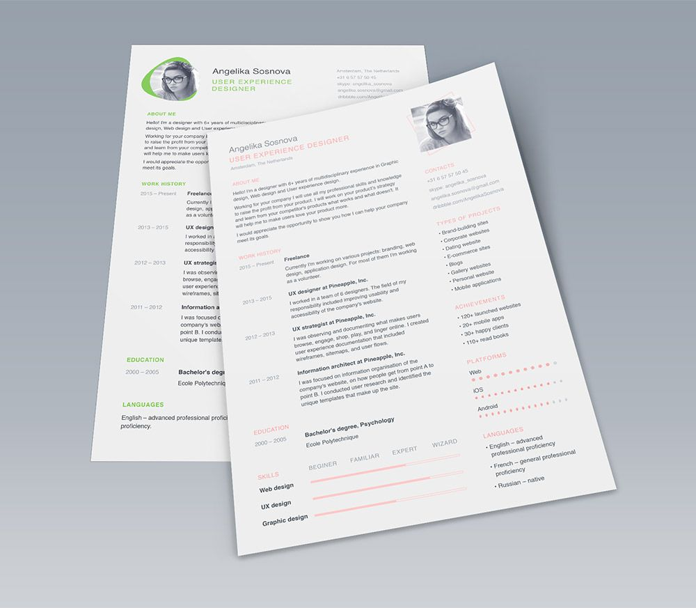 Designer Resume Template Pdownload Clean Ui Designer Resume Template Free Psdhere's A