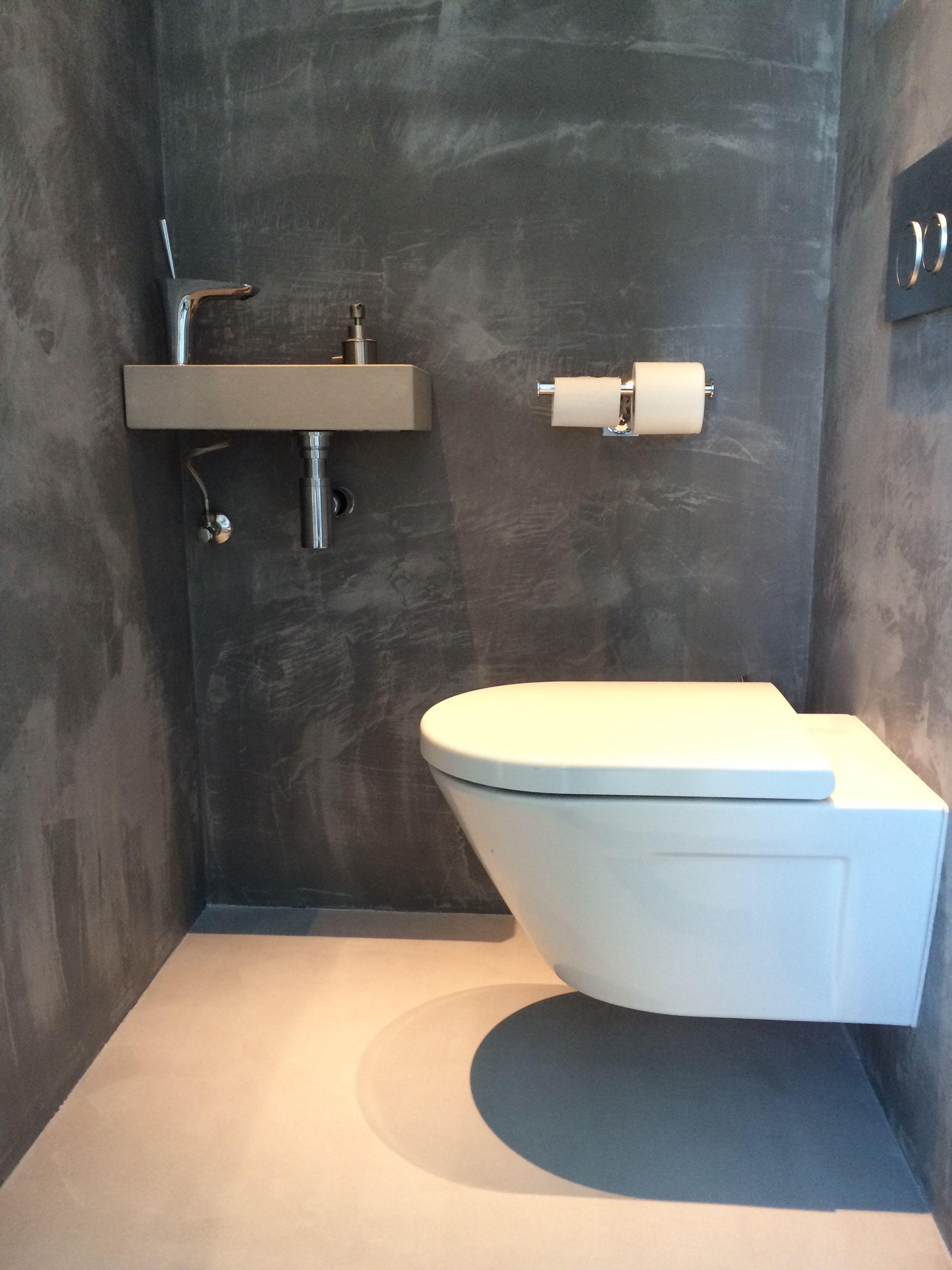 Beton cire toilet grijs badkamer en toilet pinterest grijs wc en badkamer - Badkamer wc ...
