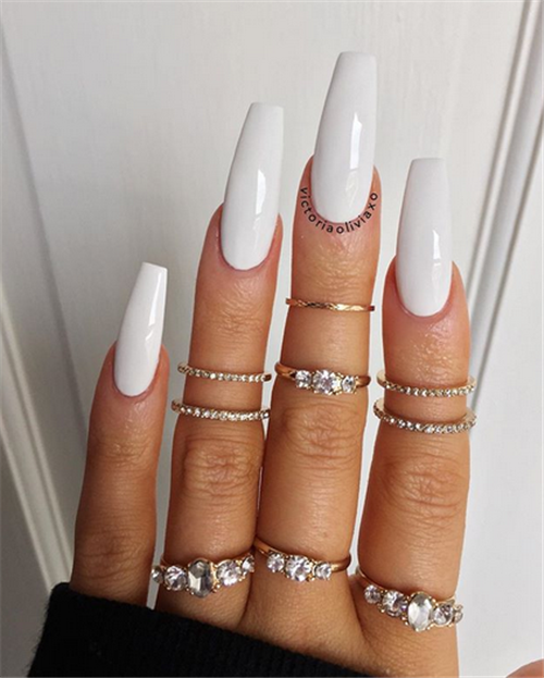 50 The Simple And Unique Acrylic Coffin Nails You Will Love This Summer Nail Art Connect Long White Nails Coffin Nails Long White Acrylic Nails