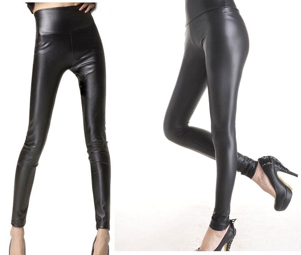ca219d52f160d7 Sexy Faux Leather High Waisted Leggings(S (US 4-6), matt black) at Amazon  Women's Clothing store: Leggings Pants
