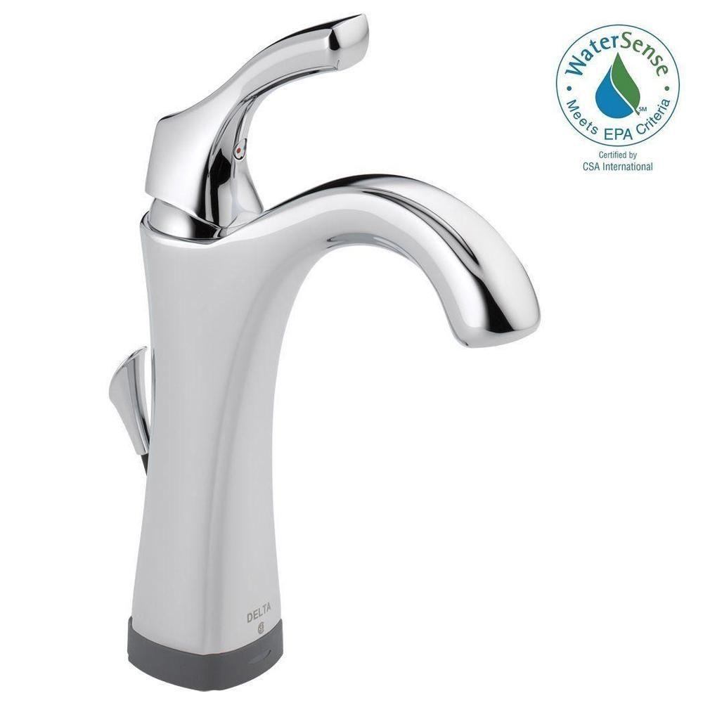 Delta Addison Single Hole Single-Handle Bathroom Faucet with Touch2O ...