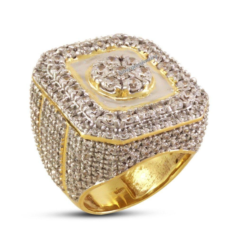 4f238cee8 Mens Lab-Diamond Pinky Ring Yellow Gold Over 2.50 Carat Round Cut Wedding  Band  Silvergemsjewelry  MensDiamondRing   ...