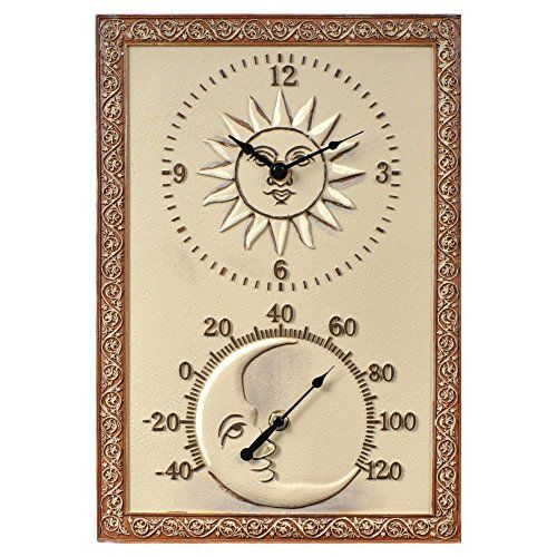 Sun Moon 10 In Wide Thermometer Wall Clock Wall Clock Clock Outdoor Wall Clocks