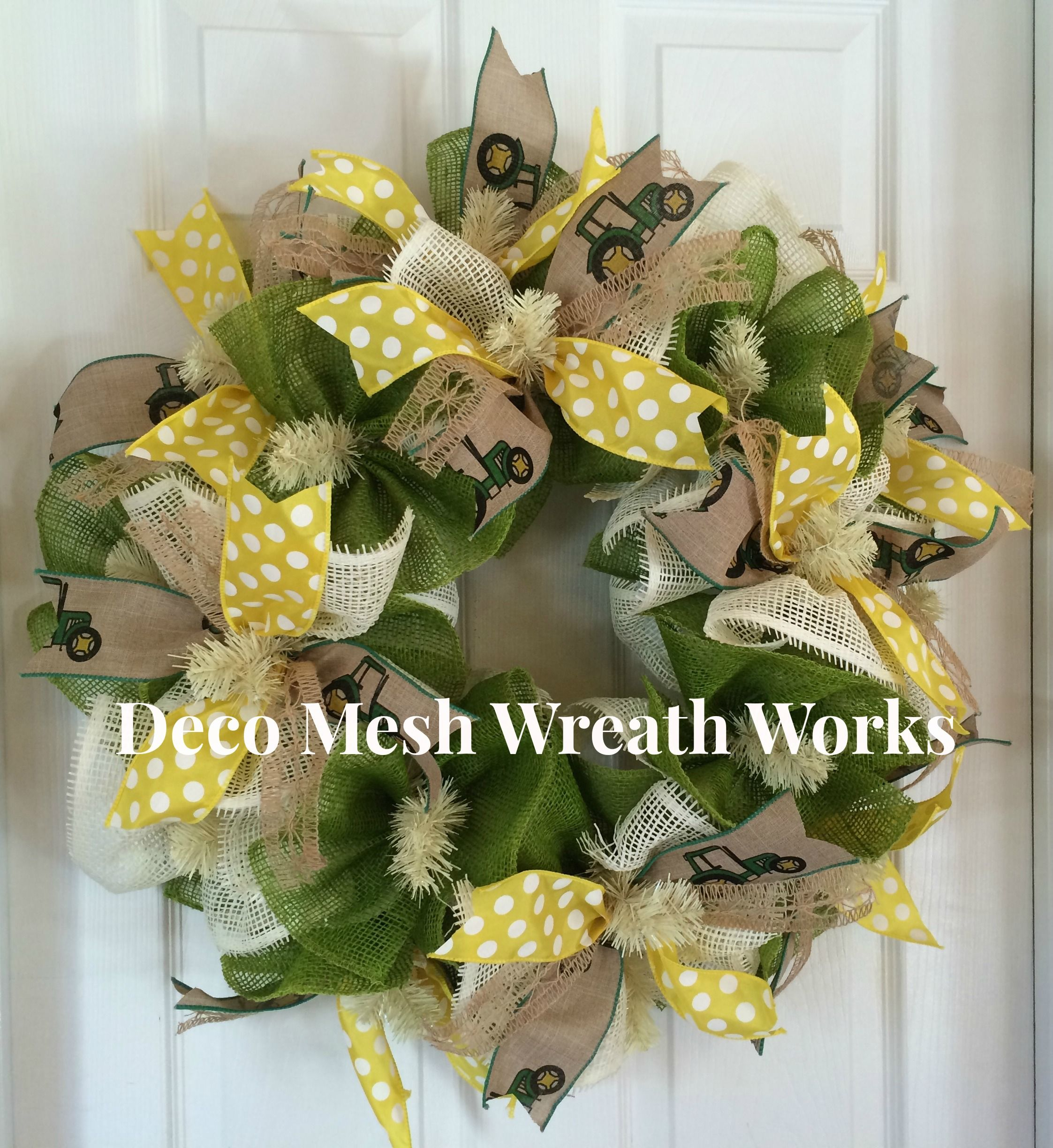 24 inch john deere inspired wreath made with woven paper mesh 24 inch john deere inspired wreath made with woven paper mesh ruffles and wired ribbons jeuxipadfo Image collections