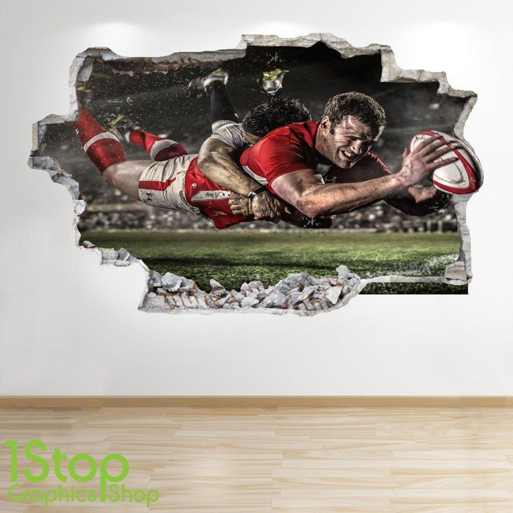 Peinture Murale autocollant Rugby Decal enfants chambre à coucher sports Wall Art RUGBY Stade 3D